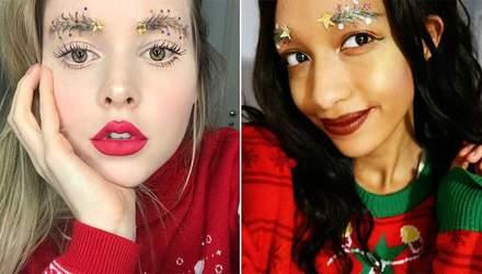 Різдвяний тренд: мережу заполонили знімки з новорічним декором для брів