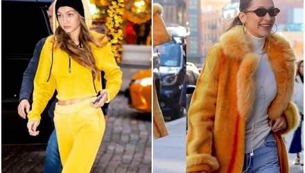 Найстильніші сестри обирають жовтий: Белла і Джіджі Хадід засвітилися в Нью-Йорку