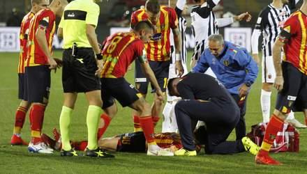 В Італії страшна травма футболіста стала причиною перенесення матчу: відео інциденту