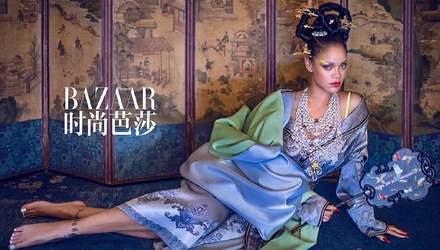 Идеальное перевоплощение: певица Рианна снялась в азиатском стиле для китайского Harper's Bazaar