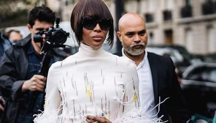Наомі Кемпбелл засвітила екстраординарне вбрання на модному показі в Парижі