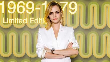 Кара Делевинь в провокационном образе на мужском показе бренда Dior
