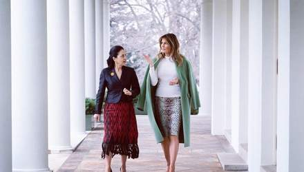 Мелания Трамп надела питоновую юбку для встречи с политиками: эффектные фото