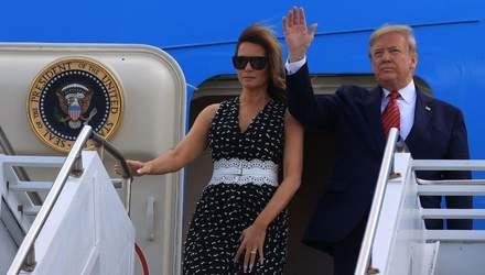 Мелания Трамп надела платье с пикантным декольте на открытие гонки: фото