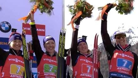 Как награждали Украины за бронзу на чемпионате мира по биатлону: видео