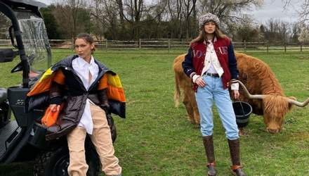 Джиджи и Белла Хадид устроили импровизированную фотосессию для Vogue на домашнем ранчо: фото