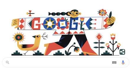 Google поздравил украинцев с Днем вышиванки ярким дудлом