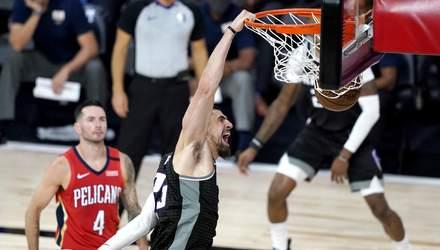 Украинский баскетболист Лень сделал эффектный данк в матче НБА: видео