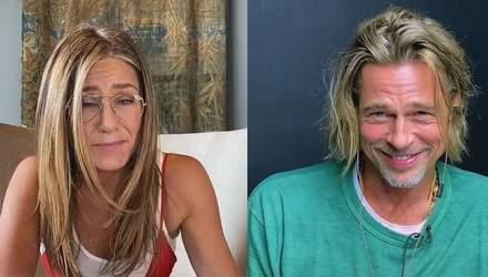 Брэд Питт и Дженнифер Энистон разыграли эротическую сцену в прямом эфире: видео
