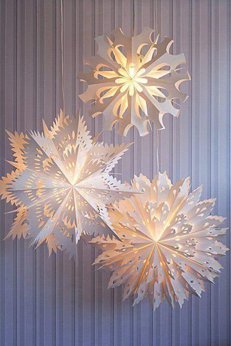 обємні сніжинки з ліхтариками