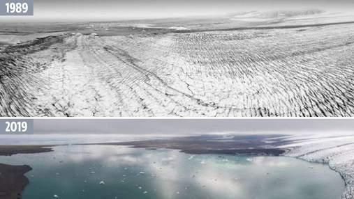 Як помирають льодовики: приголомшливі фото 30-річної давнини та сьогодення