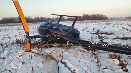 Під Києвом розбився вертоліт: деталі, фото з місця аварії