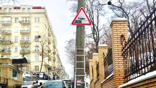 У Києві вперше в Україні встановили нові дорожні знаки: фото