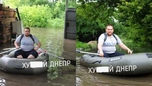 На улицы вышли лодки: житель Днепра поплавал прямо на дороге – видео