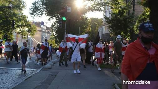 У Києві на марші солідарності з білорусами відбулися сутички: відео