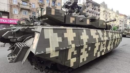 На репетиції параду побачили танк з камуфляжем зі скотчу: чому його так обклеїли