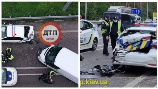 Під Києвом п'яний водій влетів у новеньке авто поліції: патрульного аж відкинуло