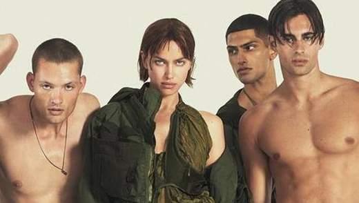 Обнаженные по-хулигански: Ирина Шейк в окружении парней для рекламы DSquared2