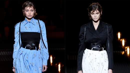 Моделі Кайя Гербер і Джіджі Хадід стали зірками модного показу Prada: стильні фото