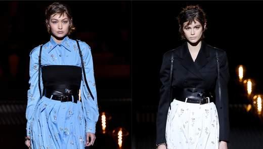 Модели Кайя Гербер и Джиджи Хадид стали звездами модного показа Prada: стильные фото