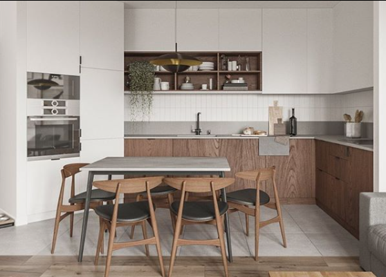 В кухні поєднали білий колір і текстуру дерева