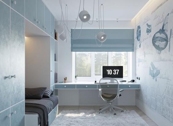 Інтер'єр дитячої кімнати у блакитному кольорі