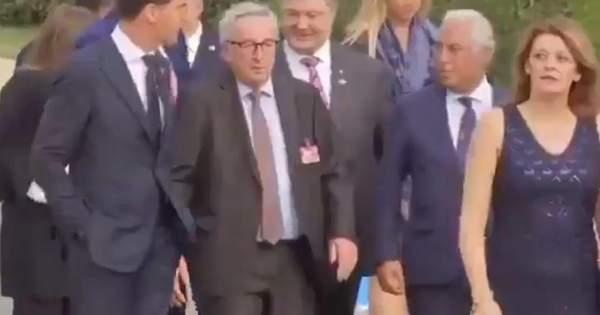 На вечері саміту НАТО президент Єврокомісії ледве стояв на ногах: віде