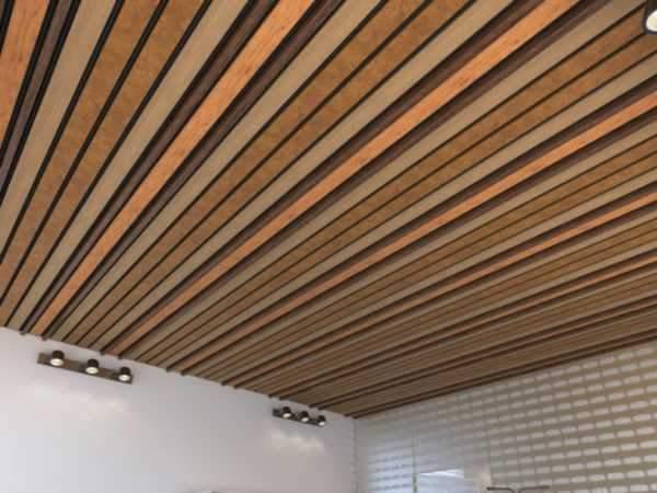 Підвісна стеля з дерев'яними балками