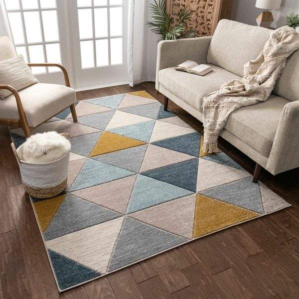 Сучасний скандинавський килим з трикутниками