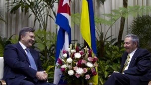 Виктор Янукович провел встречу с Раулем Кастро