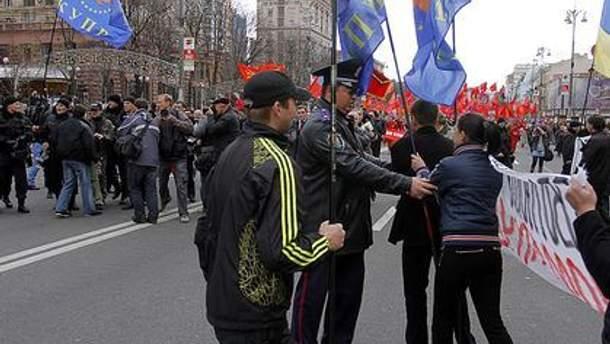 В прошлом году на Крещатике коммунисты подрались с представителями КУОР