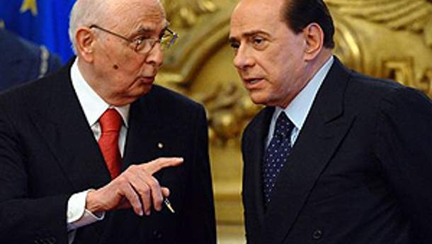 Джорджо Наполитано и Сильвио Берлускони