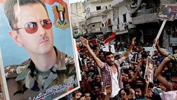 Сторонники Башара Асада на улицах Дамаска
