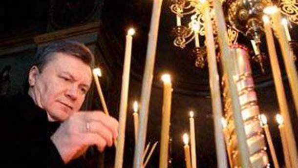 Виктор Янукович помолился на Могиле Богородицы