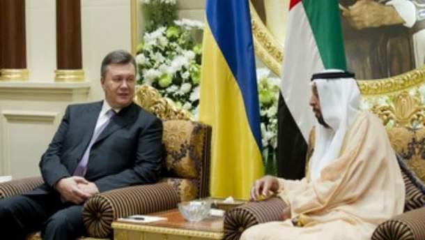 Віктор Янукович та Халіфа бін Заїд Аль-Нахайян