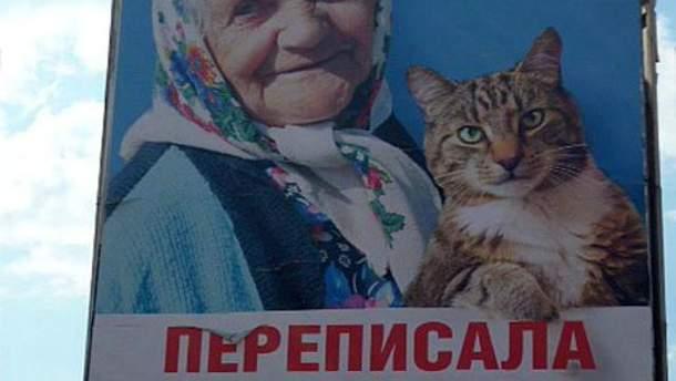 Билборд с бабушкой и котом