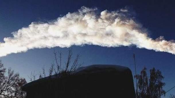 Полоса от метеорита в Челябинске