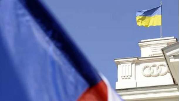 Флаг Украины и России