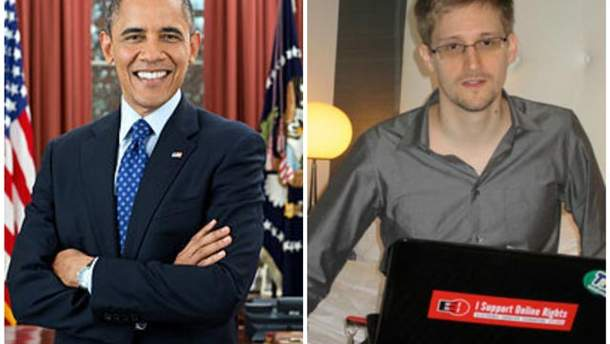 Барак Обама и Эдвард Сноуден