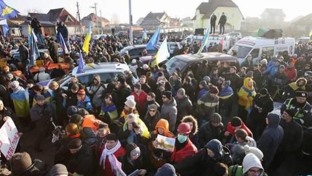 Акция Автомайдана в Межигорье
