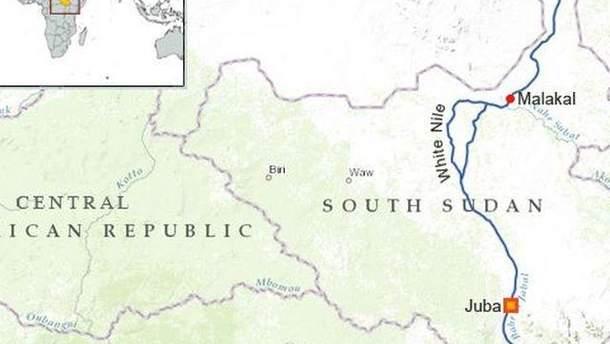Південний Судан на карті