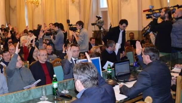 Голосование во Львовском областном совете