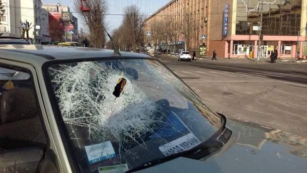 В Черкассах разбили машины автомайдановцев