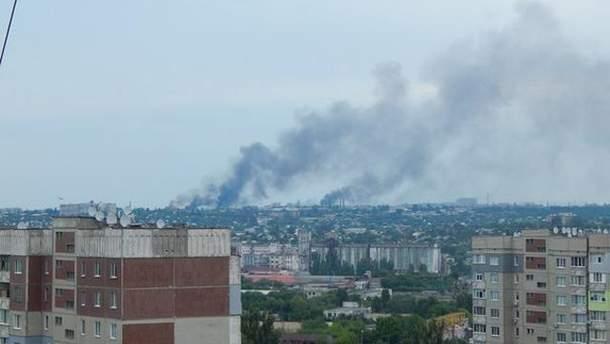 Дим у Луганську