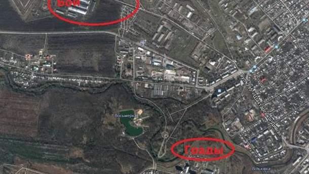 Район бою під Луганськом