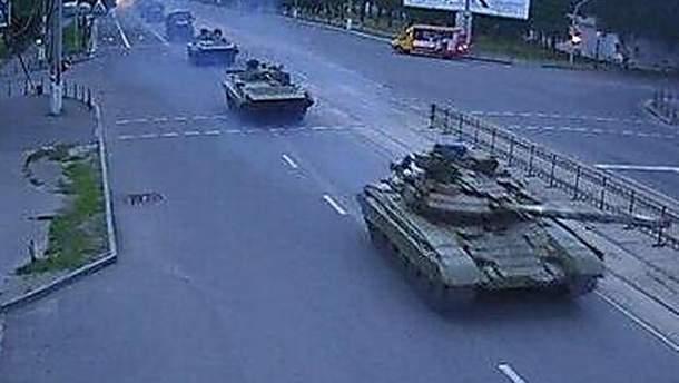 Російські танки в Луганську