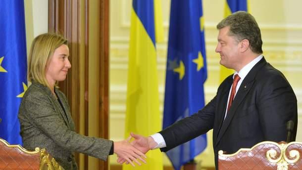 Ф. Могерини и П. Порошенко