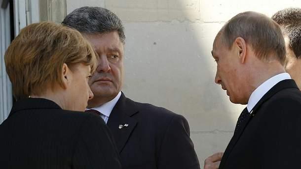 А.Меркель, П.Порошенко и В.Путин