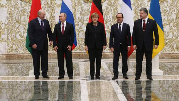 Лукашенко, Путин, Меркель, Олланд и Порошенко