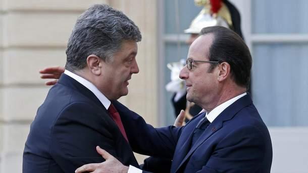 П. Порошенко и Ф. Олланд